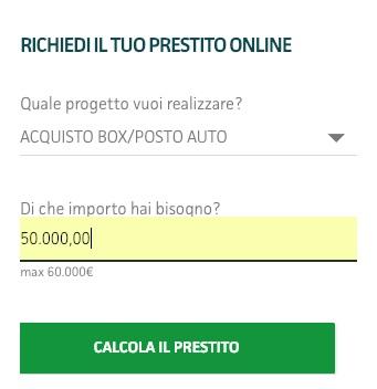 prova di calcolo rata prestito 50 mila euro sito findomestic