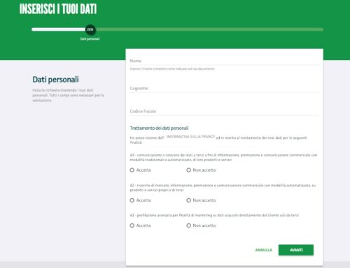 inserimento dati per richiesta prestito online findomestic