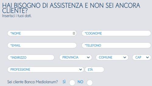 schermata richiesta informazioni online banca mediolanum
