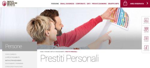 schermata prestiti sito ufficiale MPS