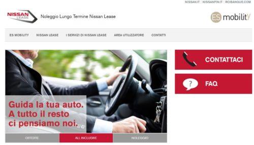 schermata sito nissan lease