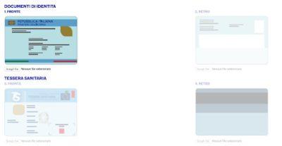 esempio schermata sito ufficiale per il caricamento dei documenti per richiesta online go credit