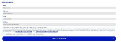 esempio di form online per la richiesta online go credit