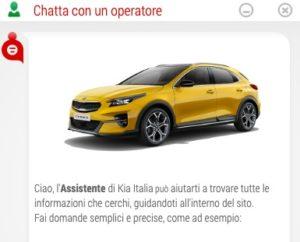 schermata assistenza chat live sito ufficiale kia